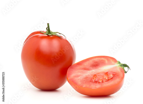 Red fresh tomatoes on a white background Canvas Print
