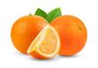 Leinwanddruck Bild - orange fruit with leaf  isolated on white background