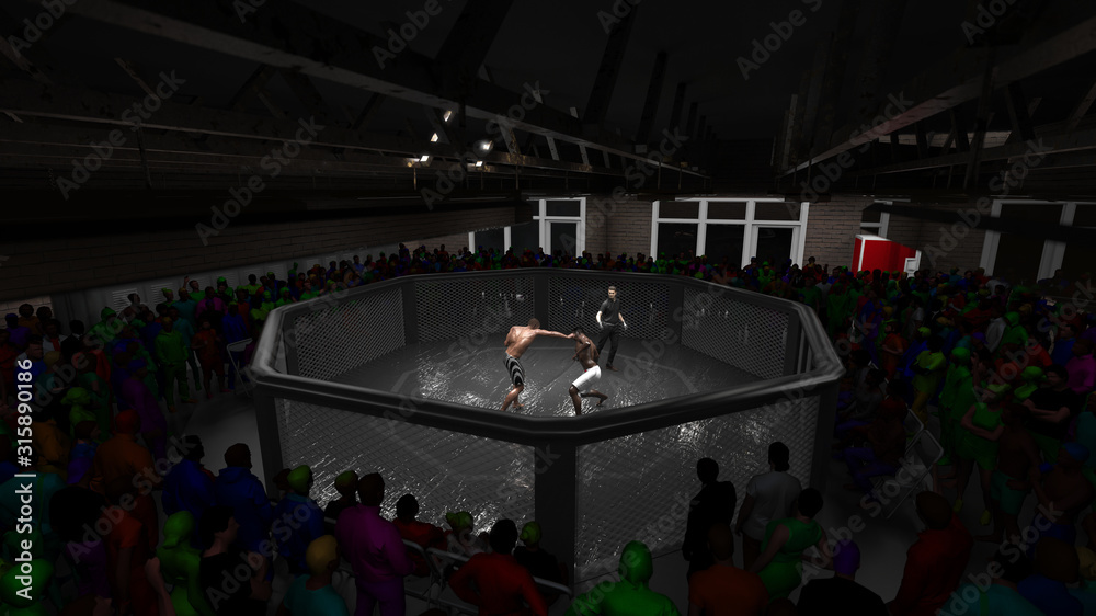 View from ceiling of cage mma fight with crowd and reffere 3d render