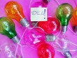 "canvas print picture - Colored bulbs and writing: ""idea"""