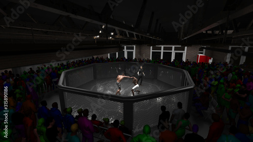 Photo View from ceiling of cage mma fight with crowd and reffere 3d render