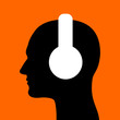 Man with headphones and earphones on the head. Person is listening the music. Vector illustration.