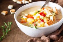 Bowl Of Homemade Corn Chowder ...