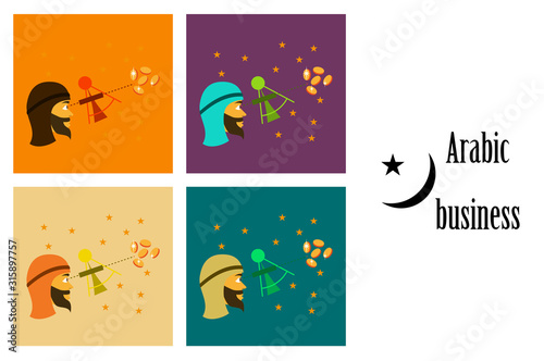 assembly of flat icons on theme Arabic business astronomer Canvas Print