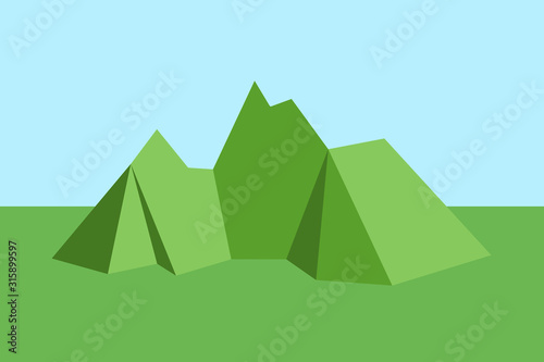 Fototapeta Geometrical, angular tringular and rectangular graphics on mountain and hill in the nature and countryside. Vector illustration.  obraz