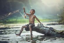 Boy Fishing At The River, Coun...