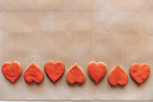 Heart-shaped Cookies On Baking...