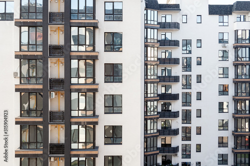 Photo Balconies and windows with mirrored glass background