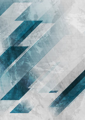 Fototapeta Na meble Blue and grey grunge stripes abstract flyer design. Geometric tech background. Vector illustration