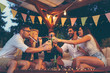 canvas print picture - People making a toast at party