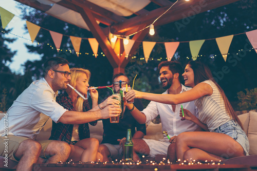 People making a toast at party - 315907746