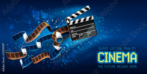 Fotomural Cinema producers clapperboard for film making flying in Space with trails of stars and film-strip films