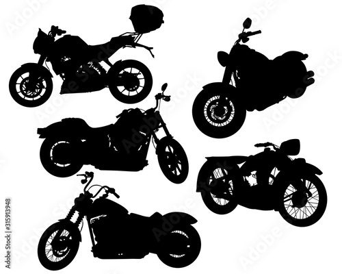 Cuadros en Lienzo  Retro motorcycle one white background. Isolated silhouettes