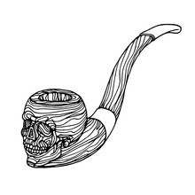 Smoking Pipe With Carving & Wooden Texture, Skull Symbol Of Death & Philosophy, Sailor Attribute, Vector Illustration With Black Contour Lines Isolated On White Background In Doodle & Hand Drawn Style