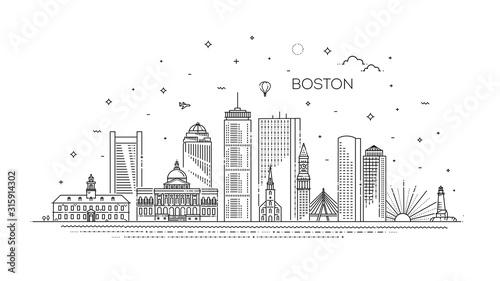 Fényképezés Boston architecture line skyline illustration