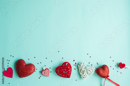 Fototapeta Valentines Day background. Red heart, gift box, ribbon shaped as heart obraz na płótnie