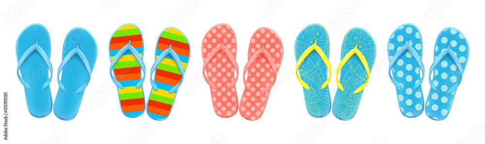 Fototapeta Set of colored summer flip-flops polka dots, stripes, beach shoes, vector.