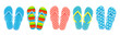 Set of colored summer flip-flops polka dots, stripes, beach shoes, vector.