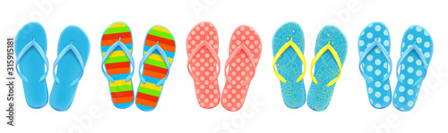 Photo Set of colored summer flip-flops polka dots, stripes, beach shoes, vector
