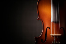 Beautiful Antique Violin On Black Background
