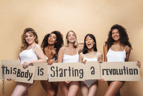 Fototapety, obrazy: Image of seductive multinational women smiling and placards