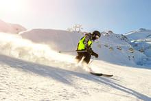 Child Teenager Boy Skiing Fast...