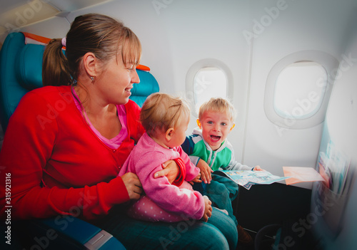 little boy shout in plane, problems with family in flight, child afraid of flyin Canvas Print