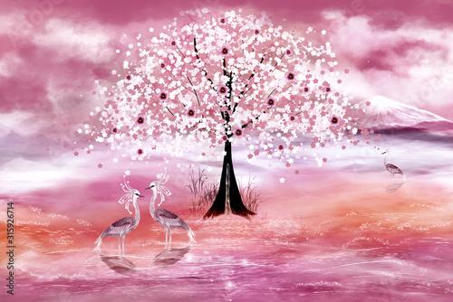Trzy czaple w różowym stawie wiosennego świata