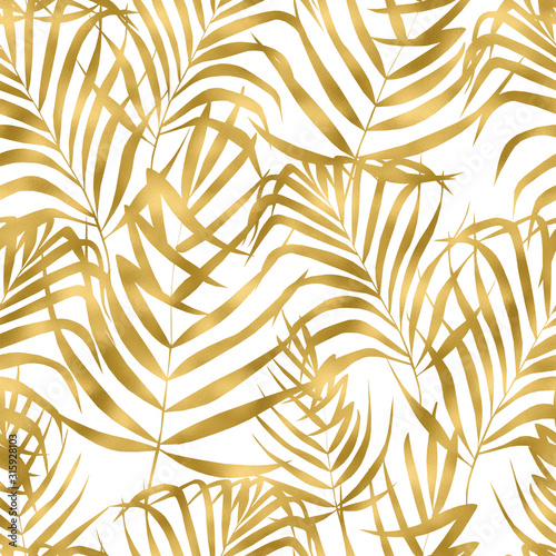 Tapety złote  beautiful-watercolor-seamless-pattern-with-gold-tropical-leaves