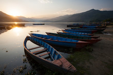 Boats On A Lake In Nepal