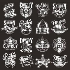 Vintage wild west labels set