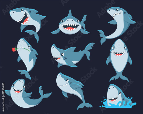 Photographie Cute funny shark flat vector illustrations set
