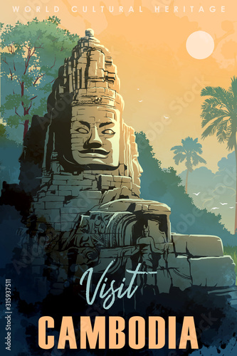 Buddha Temple in Angkor Wat, Cambodia. Vintage travel poster. 50-s style. EPS10 vector illustration Fototapete