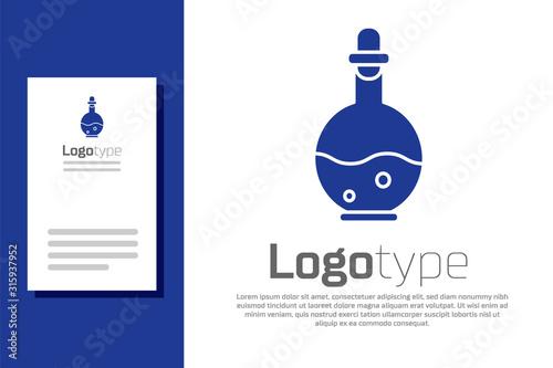 Fototapeta Blue Glass bottle with magic elixir icon isolated on white background. Computer game asset. Logo design template element. Vector Illustration obraz