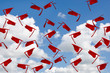 canvas print picture - airborne red graduation hats with tassels in summer blue sky