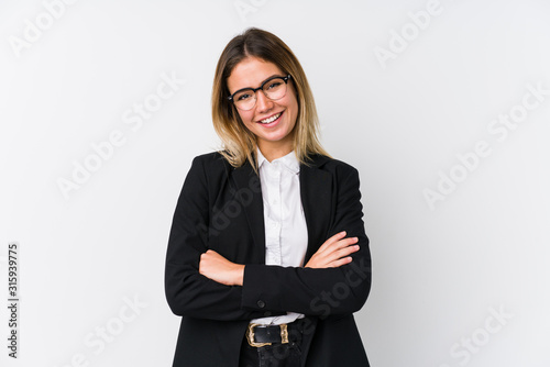 Young business caucasian woman who feels confident, crossing arms with determination Poster Mural XXL