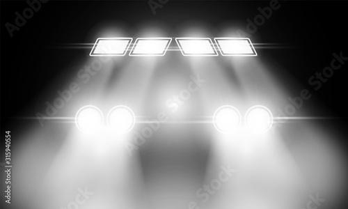 Obraz Car headlight light on black background - fototapety do salonu