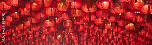 Fotografie, Obraz Chinese New Year 2020, Background of Chinese lantern hanging on the celling