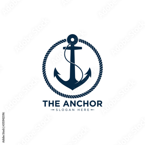 Canvastavla marine retro emblems logo with anchor and rope, anchor logo - vector