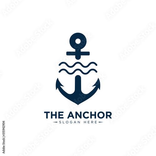 Fotografia marine retro emblems logo with anchor , anchor logo - vector
