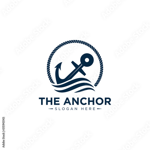 marine retro emblems logo with anchor and rope, anchor logo - vector Fototapete