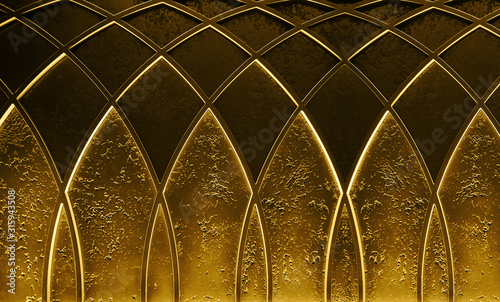 Abstract elegant art deco geometric ornamented gold textured glowing background Poster Mural XXL