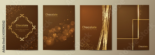 Fototapeta チョコレートの背景 バレンタインデーのテンプレート メニューカタログ 茶色の背景 obraz