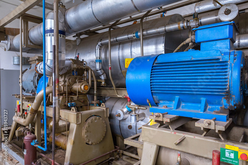The screw ammonia compressor are specifically engineered to deal with industrial refrigeration installations Canvas Print