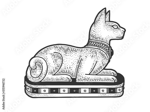Fotografia Ancient Egyptian cat statue sketch engraving vector illustration