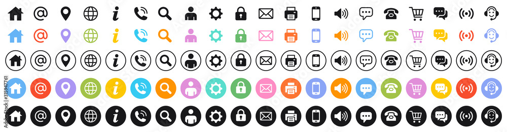 Fototapeta Set of 100 Business Card icons. Name, phone, mobile, location, place, mail, fax, web. Contact us, information, communication. Vector illustration
