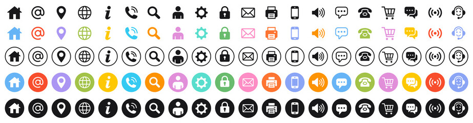 Set of 100 Business Card icons. Name, phone, mobile, location, place, mail, fax, web. Contact us, information, communication. Vector illustration