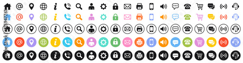 Obraz Set of 100 Business Card icons. Name, phone, mobile, location, place, mail, fax, web. Contact us, information, communication. Vector illustration - fototapety do salonu