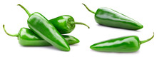 Green Chili Peppers. Isolated ...