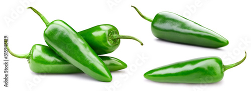 Green chili peppers Canvas Print